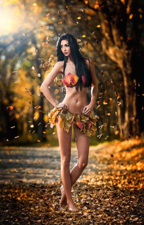 La foto de la muchacha morena sensual que presentaba en un parque otoñal hermoso se vistió con un traje hecho por las hojas oxidad foto de archivo
