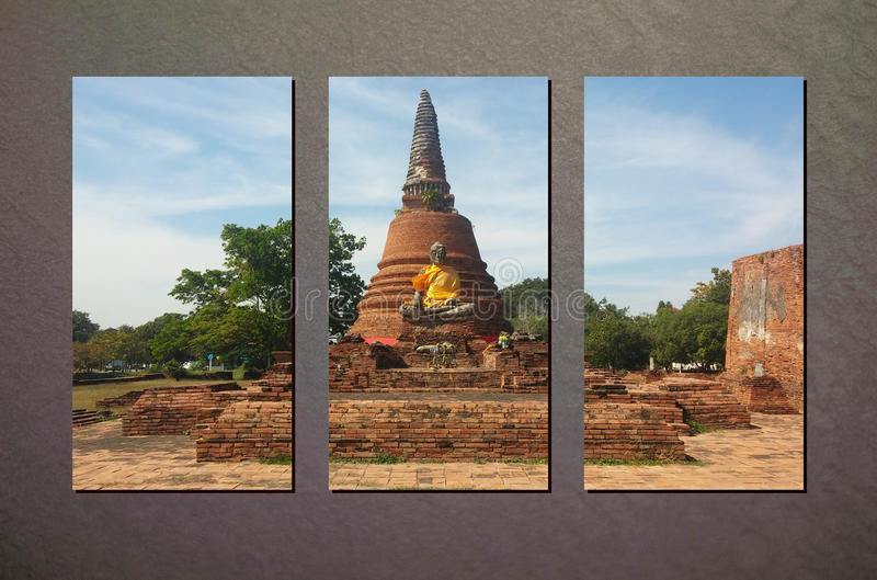 La foto del collage del templo del ladrillo de Ayutthaya de la ruina en Sunny Day en Gray Wall Background abstracto hecho por Pho fotografía de archivo