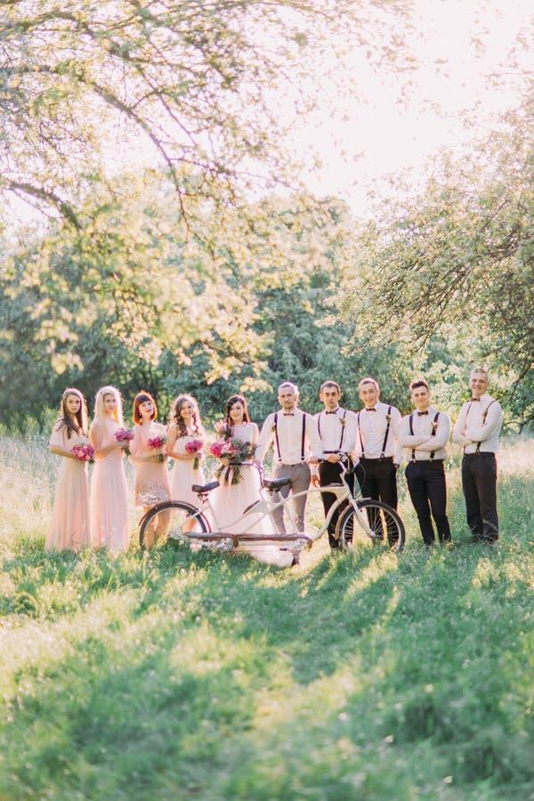La foto del grupo del novio y de sus mejores hombres, la novia con los bridemaids behing la bicicleta blanca en el fondo foto de archivo