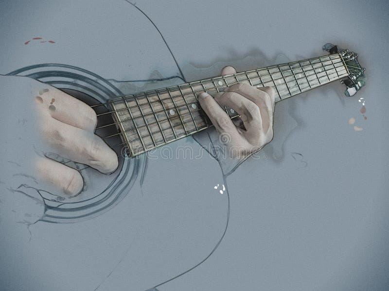 La foto del primer de una guitarra acústica jugó por un hombre imagen de archivo libre de regalías