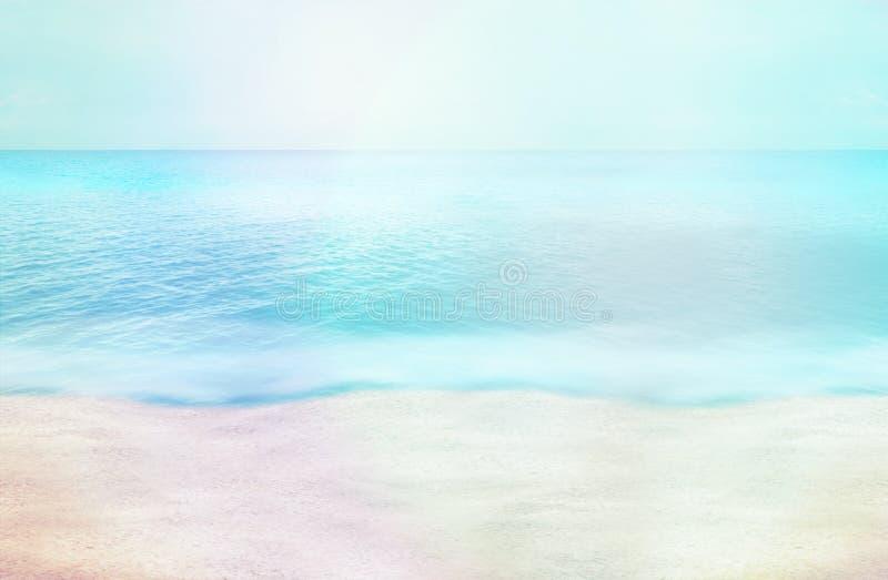 La foto di paradiso della spiaggia di ora legale e 3D rendono il fondo illustrazione vettoriale