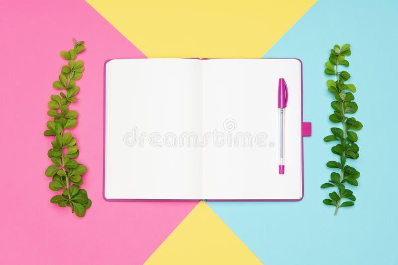 La foto di vista superiore della scrivania con dello spazio in bianco di derisione il blocco note aperto su e una penna su pastel fotografia stock