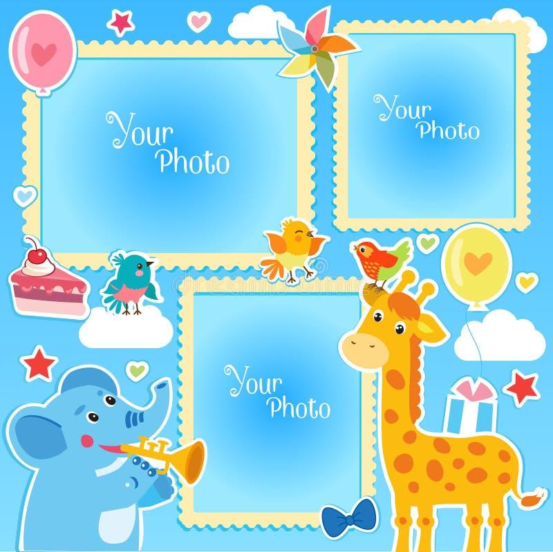 La foto enmarca el collage Marcos de la foto que hacen en casa Marcos de la foto del cumpleaños con la jirafa y el elefante ilustración del vector