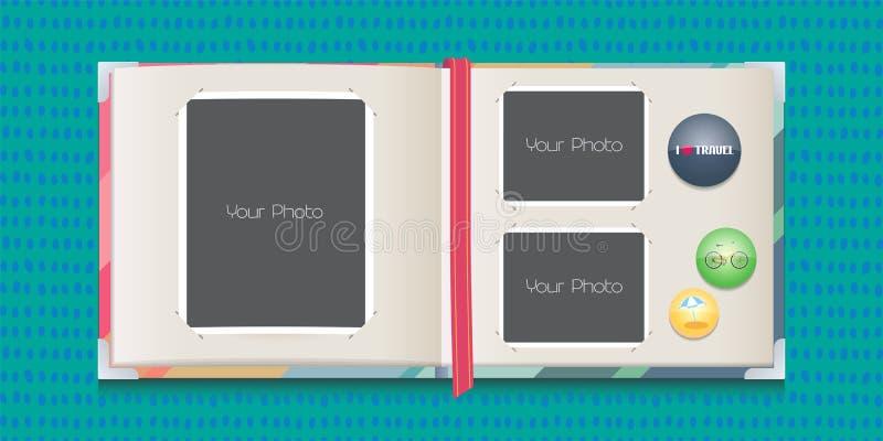 La foto enmarca el ejemplo del vector del collage o del libro de recuerdos libre illustration