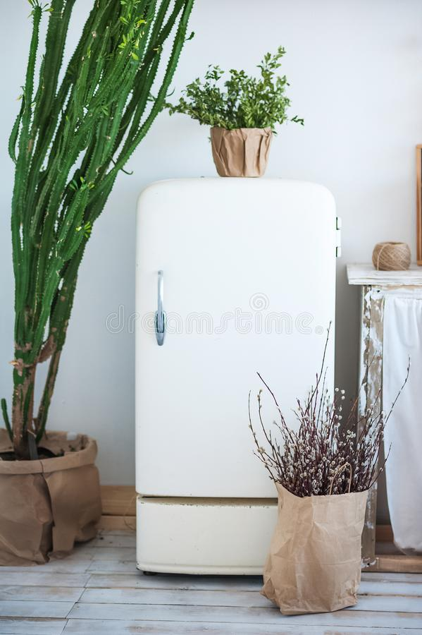 La foto hermosa de la primavera del interior de la cocina en luz texturizó colores Cocina con un refrigerador blanco viejo, un ca fotografía de archivo