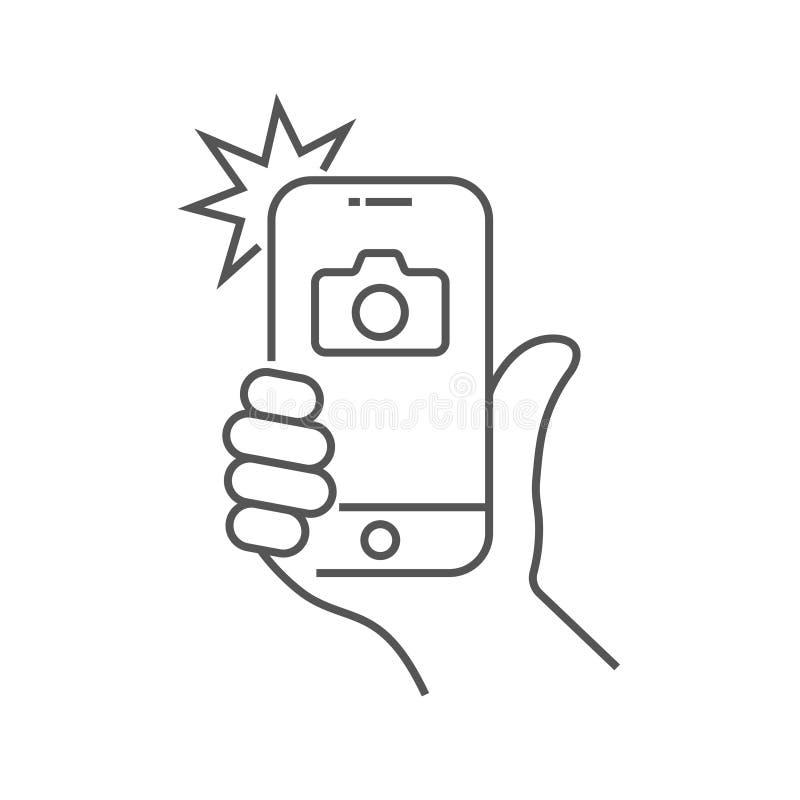 La foto sullo smartphone con il flash, mano sta tenendo lo smartphone e sta facendo la foto Mirino, mano e flash della macchina f illustrazione vettoriale