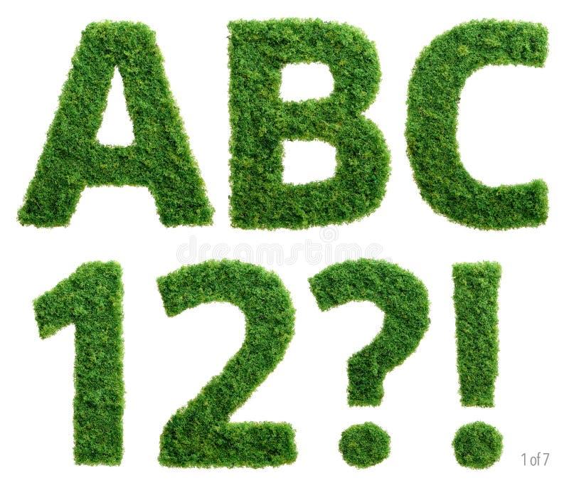 La fotografía del alfabeto de la hierba fijó 1 de 7 ilustración del vector
