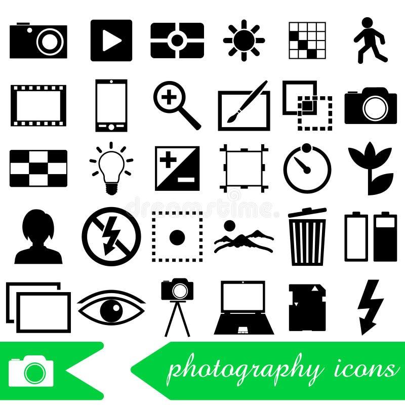 La fotografia e le icone semplici del nero di tema della macchina fotografica hanno messo eps10 royalty illustrazione gratis