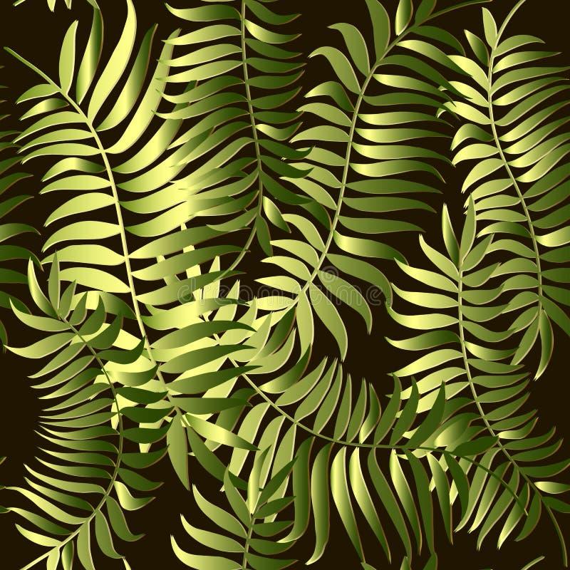 La fougère verte laisse au vecteur 3d le modèle sans couture Fond tropical Contexte floral de r?p?tition fleurie Ornement 3d exot illustration stock