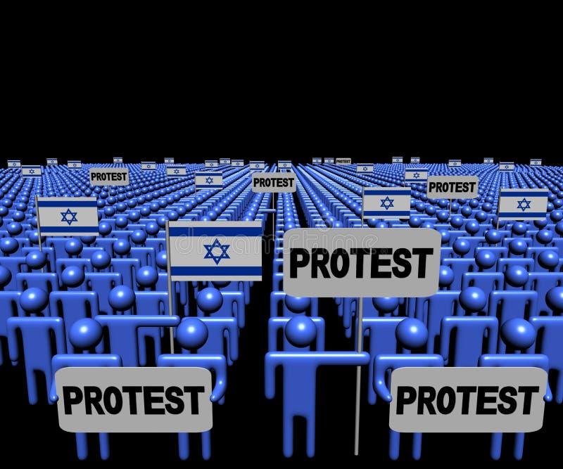 La foule des personnes avec les signes et l'Israélien de protestation marque l'illustration illustration stock