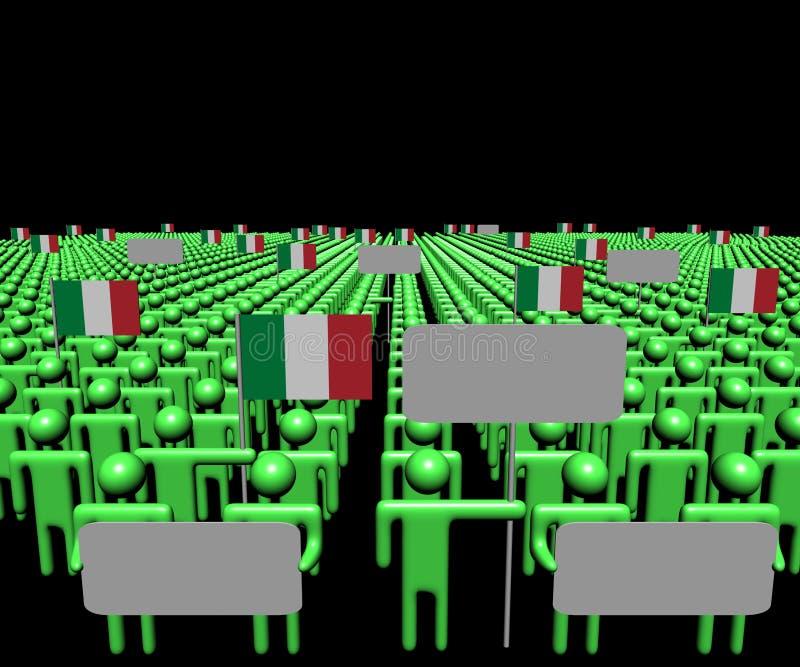 La foule des personnes avec les signes et l'Italien marque l'illustration illustration libre de droits