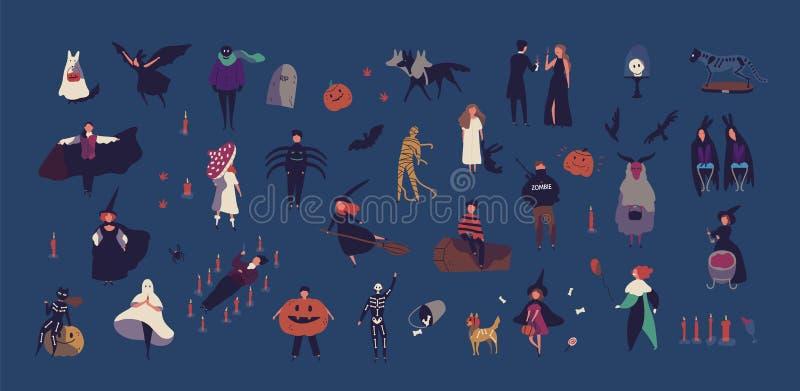 La foule des personnes minuscules s'est habillée dans divers costumes de Halloween d'isolement sur le fond foncé Bande dessinée m illustration de vecteur