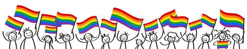 La foule encourageante du bâton heureux figure avec des drapeaux d'arc-en-ciel, défenseurs de LGBTQ souriant et ondulant les drap illustration libre de droits