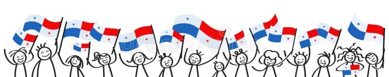 La foule encourageante du bâton heureux figure avec les drapeaux nationaux panaméens, défenseurs de sourire du Panama, fans de sp illustration stock