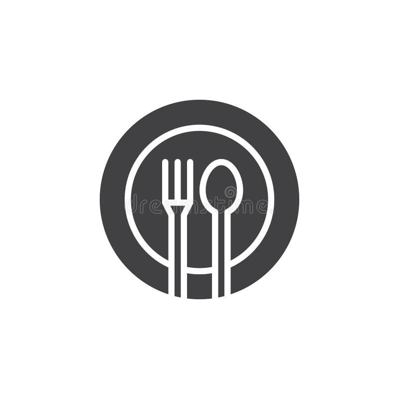 La fourchette, cuillère, vecteur d'icône de plat, a rempli signe plat, pictogramme solide d'isolement sur le blanc illustration de vecteur