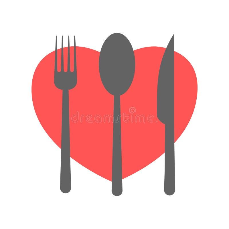 La fourchette et le couteau et la cuillère avec le coeur forment illustration libre de droits