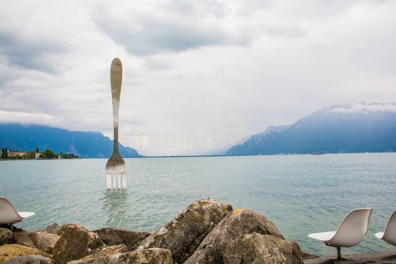 La fourchette - un point de repère du Lac Léman en Suisse photos libres de droits