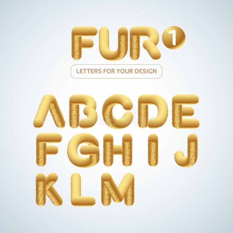 La fourrure et l'alphabet pelucheux et d'or de lettres ont placé 2 Illustration d'isolement de vecteur illustration stock