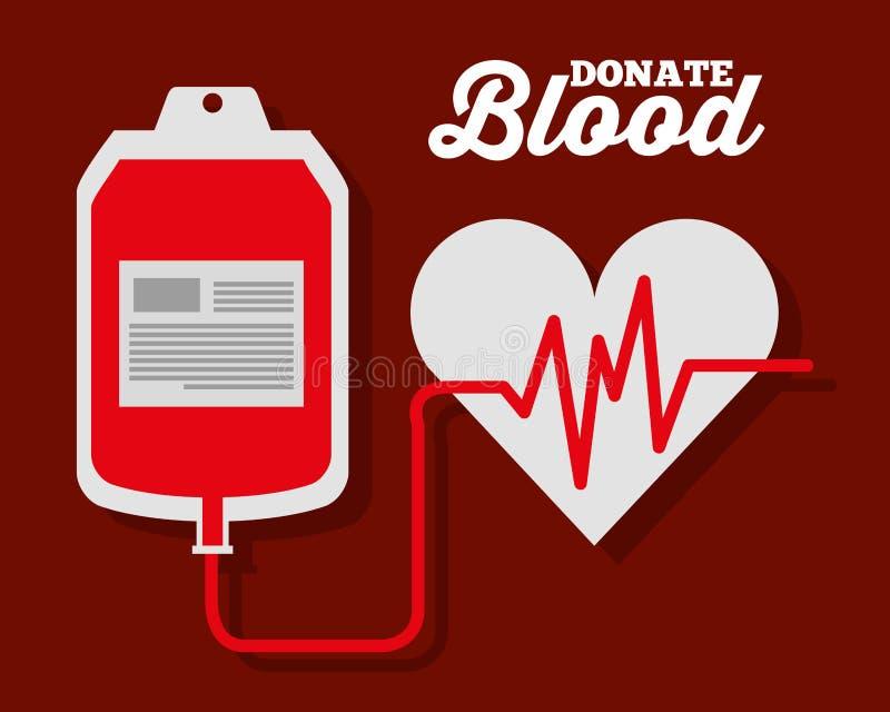 La fréquence cardiaque de sac de sang d'Iv donnent le symbole illustration libre de droits