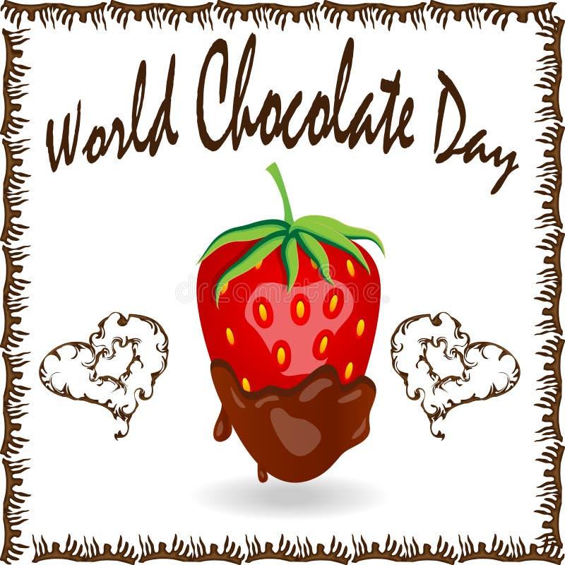 La fragola rossa della bacca ha immerso in cioccolato fondente di fusione, la frutta, la ricetta della fonduta, concetto del bigl fotografia stock