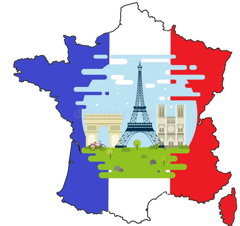 La France avec trois symboles nationaux Arc de Triomphe, Notre Dame, visite d'Eiffel illustration libre de droits