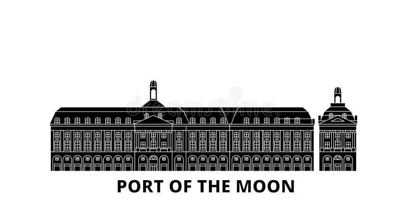 La France, Bordeaux, port de l'ensemble plat d'horizon de voyage de point de repère de lune La France, Bordeaux, port du noir de  illustration stock