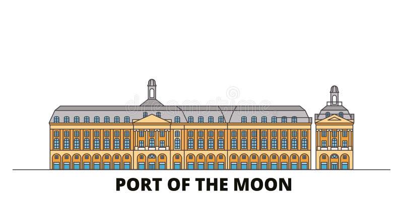 La France, Bordeaux, port de l'illustration plate de vecteur de points de repère de point de repère de lune La France, Bordeaux,  illustration stock