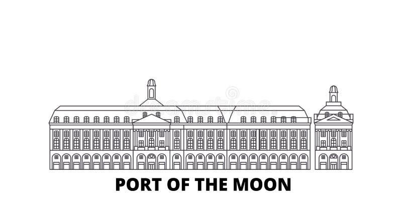 La France, Bordeaux, port de la ligne ensemble de point de repère de lune d'horizon de voyage La France, Bordeaux, port du contou illustration de vecteur