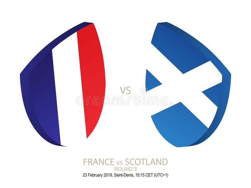 La France contre l'Ecosse, rugby 2019 six championnats de nations, rond 3 illustration stock