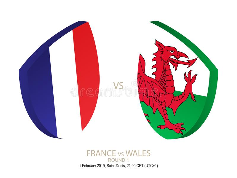 La France contre le Pays de Galles, rugby 2019 six championnats de nations, rond 1 illustration de vecteur
