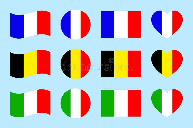 La France, Italie, Belgique marque des icônes Illustration de vecteur Formes géométriques plates Drapeaux français, italiens, bel illustration stock