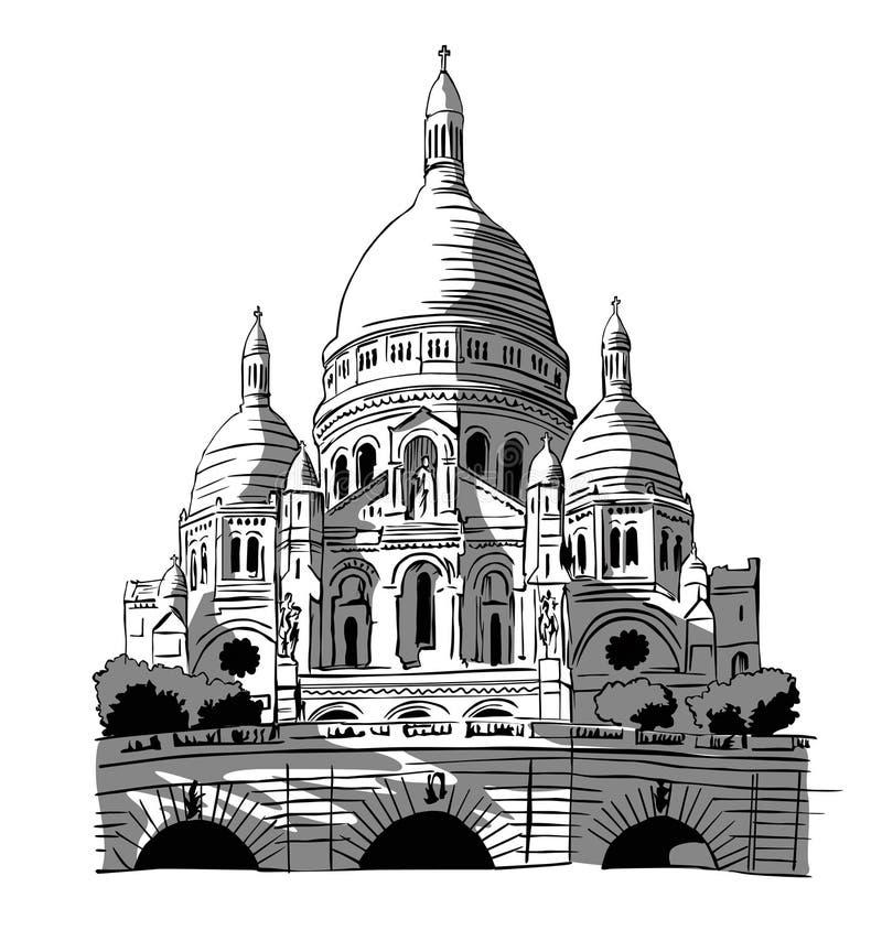 La France, Paris : Le Sacre-coeur illustration libre de droits