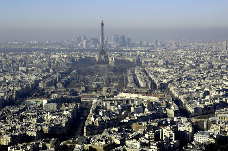 La France, Paris ; vue de ville de ciel avec Tour Eiffel photo libre de droits