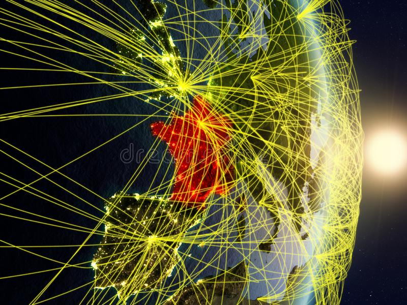 La France sur la terre reliée au réseau de planète photos libres de droits