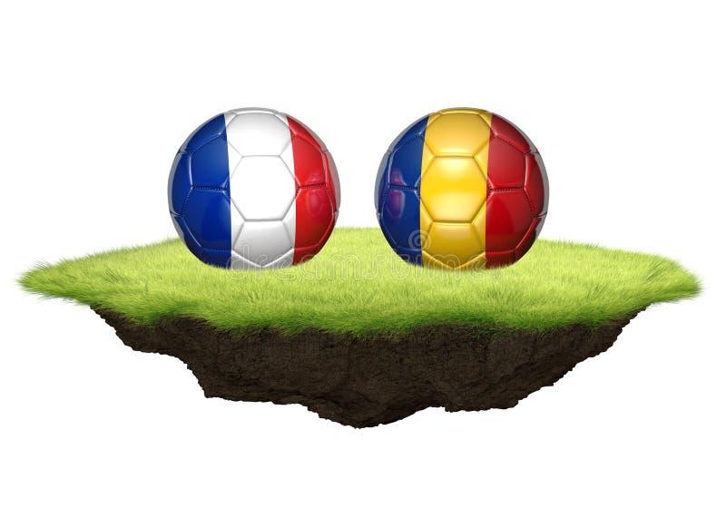 La Francia e la Romania 3D team le palle per il torneo 2016 di campionato di calcio dell'euro royalty illustrazione gratis