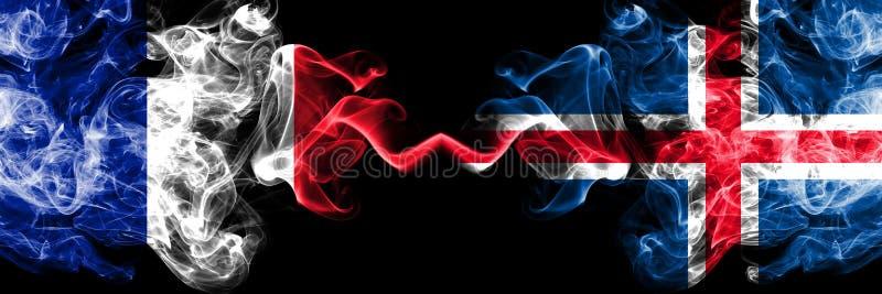 La Francia, francese, Islanda, islandese, bandiere fumose variopinte spesse della concorrenza di vibrazione Giochi europei di qua illustrazione vettoriale