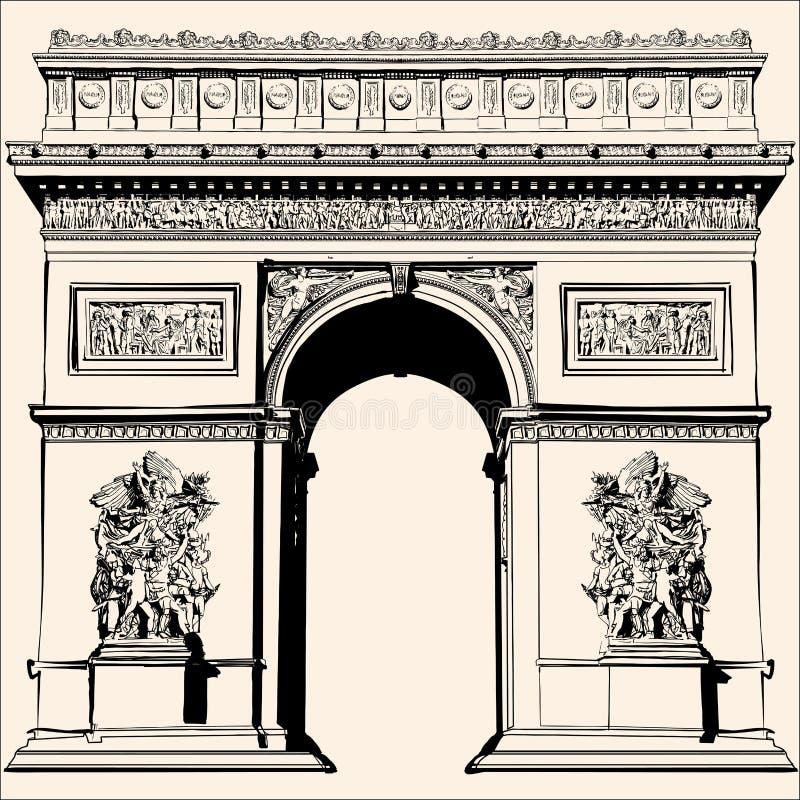 La Francia - Parigi - l'Arco di Trionfo illustrazione di stock
