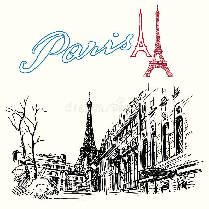 La Francia, Parigi - torre Eiffel illustrazione vettoriale