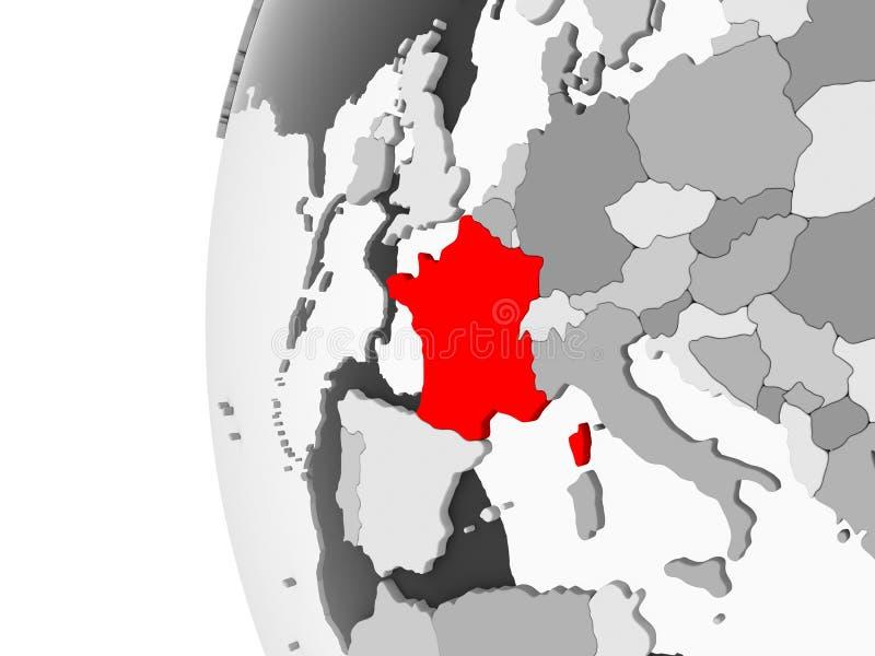 La Francia sul globo grigio illustrazione di stock