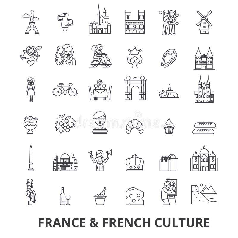 La Francia, torre Eiffel, francese, bandiera della Francia, Europa, Parigi, linea parigina e trionfale icone Colpi editabili Prog illustrazione vettoriale