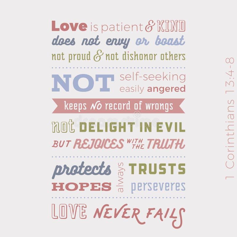 La frase bíblica de 1 13:8 de los corinthians, ama nunca falla libre illustration