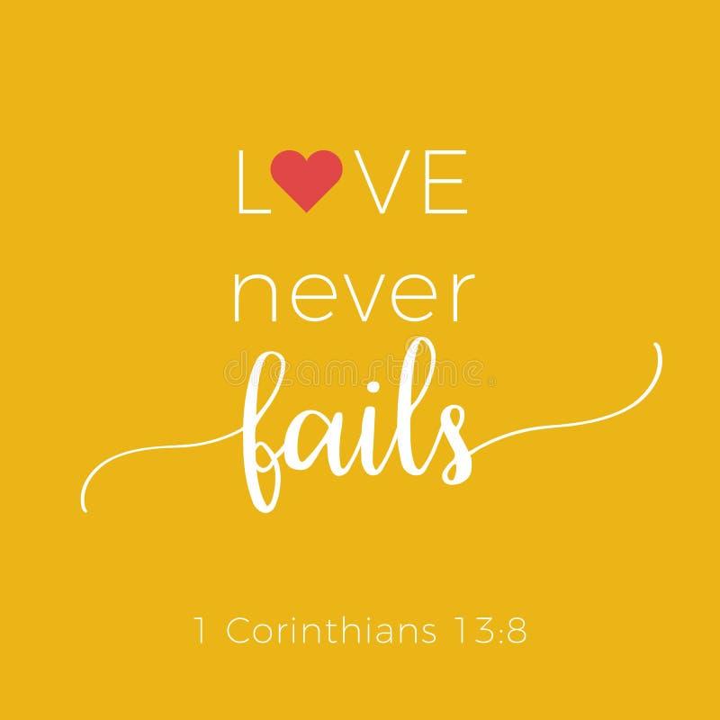 La frase bíblica de 1 13:8 de los corinthians, ama nunca falla ilustración del vector