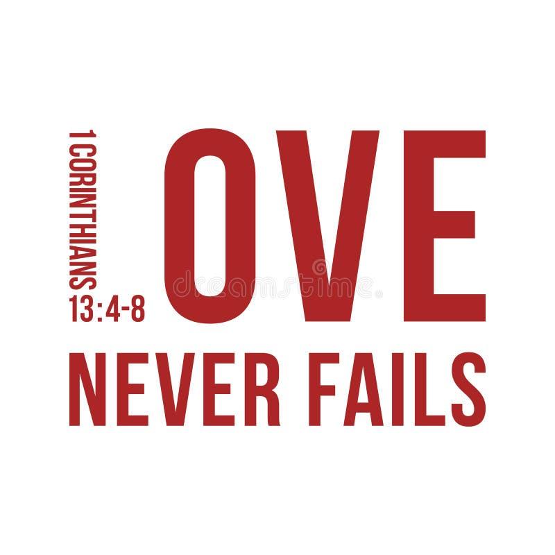 La frase bíblica de 1 13:8 de los corinthians, ama nunca falla stock de ilustración