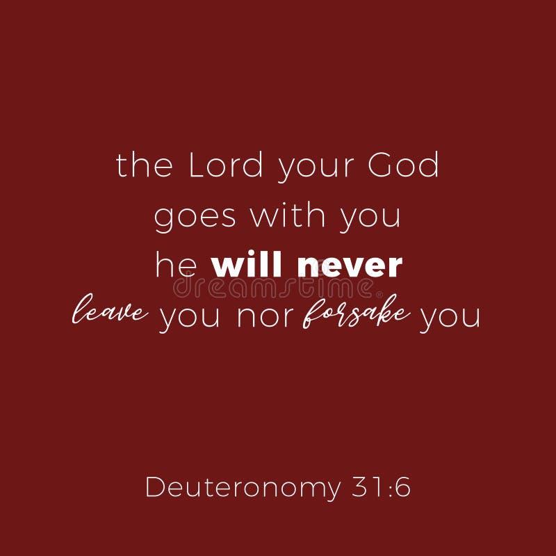 La frase bíblica del 31:6 deuteronomy, el señor su dios va los wi stock de ilustración