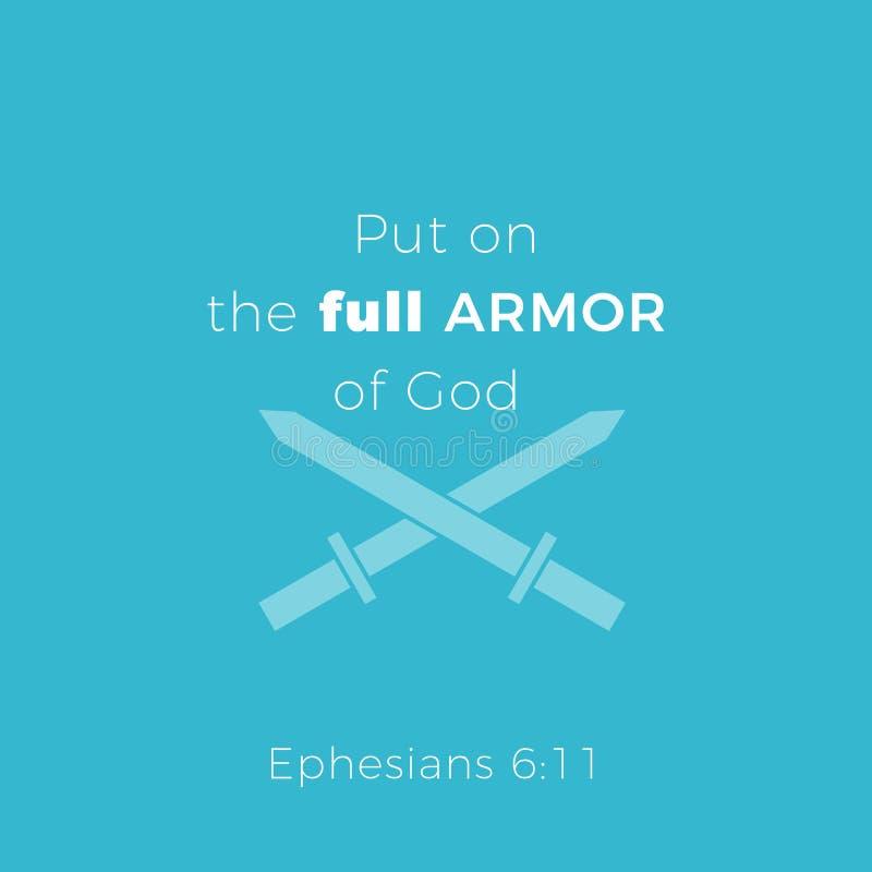 La frase bíblica a partir del 6:11 de los ephesians, puso la armadura llena de dios ilustración del vector