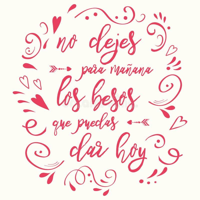 La frase sobre amor adornó el ornamento dibujado mano rosada Tarjeta romántica Elemento de las letras Texto en español ilustración del vector