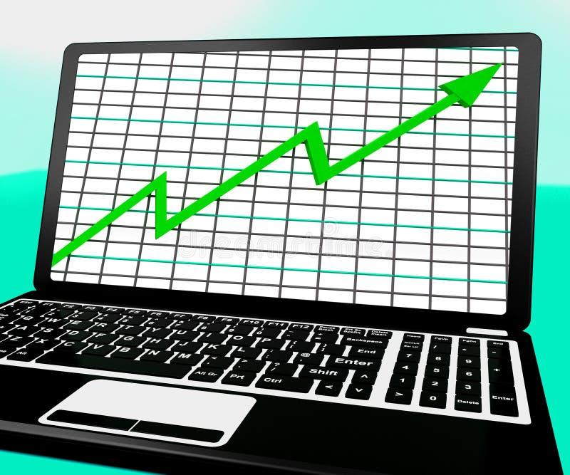 La freccia che va su sul computer portatile mostra i rapporti di statistiche illustrazione vettoriale