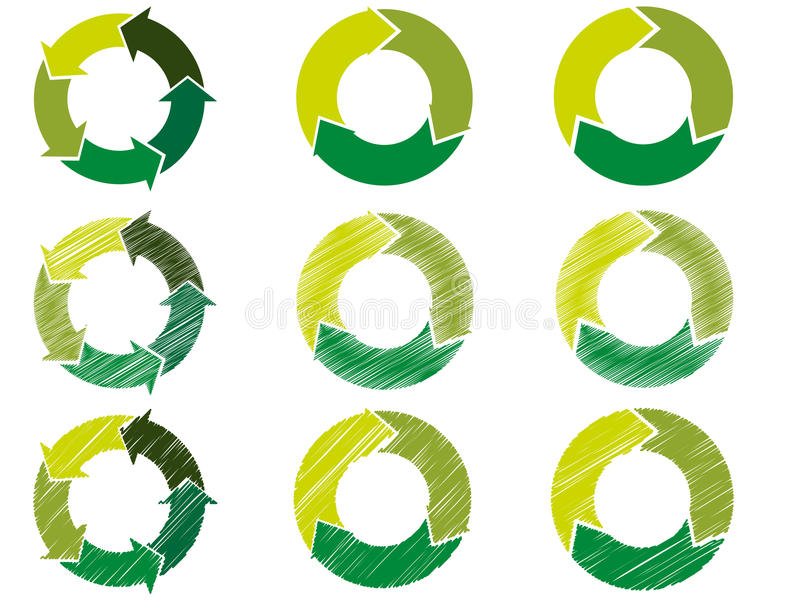 Cerchio della freccia nel colore sostenibile illustrazione di stock