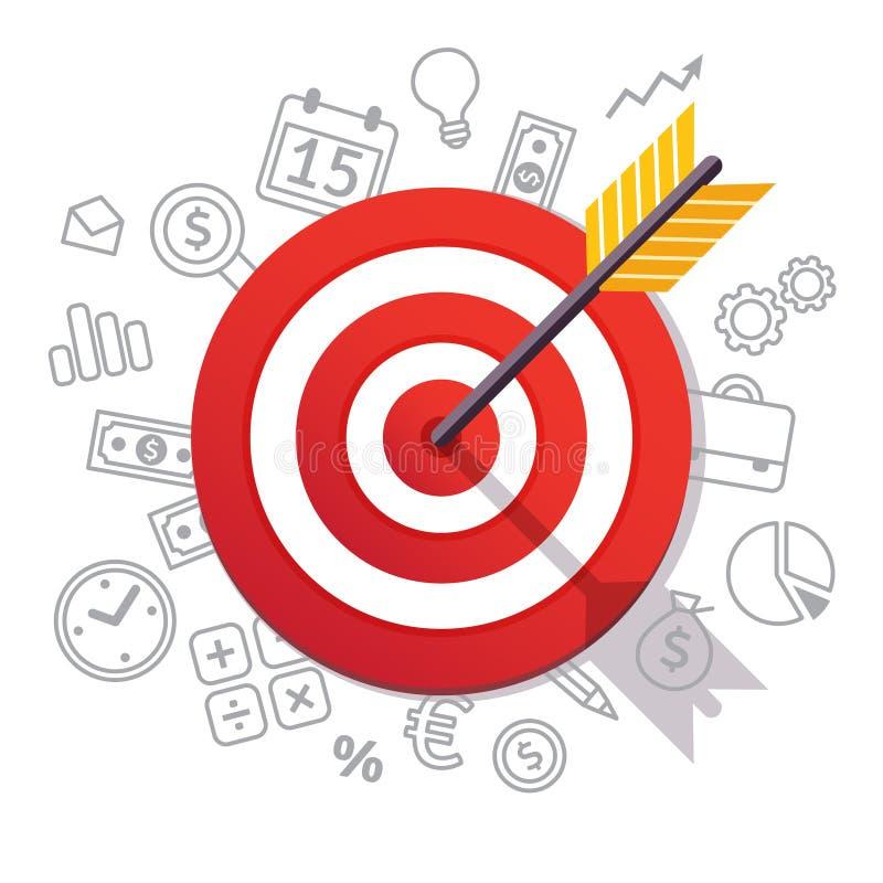 La freccia colpisce il centro dell'obiettivo Concetto di successo di affari illustrazione di stock