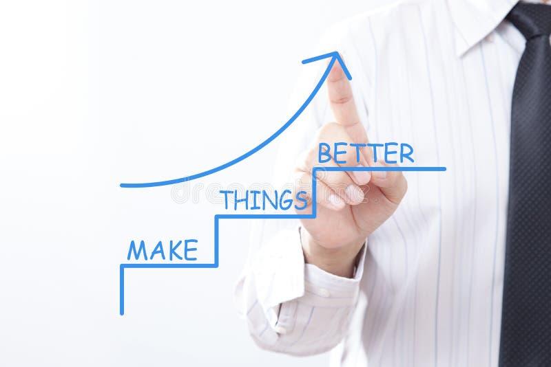 La freccia del rubinetto dell'uomo d'affari che indica su con rende le cose migliori - Impr immagine stock libera da diritti